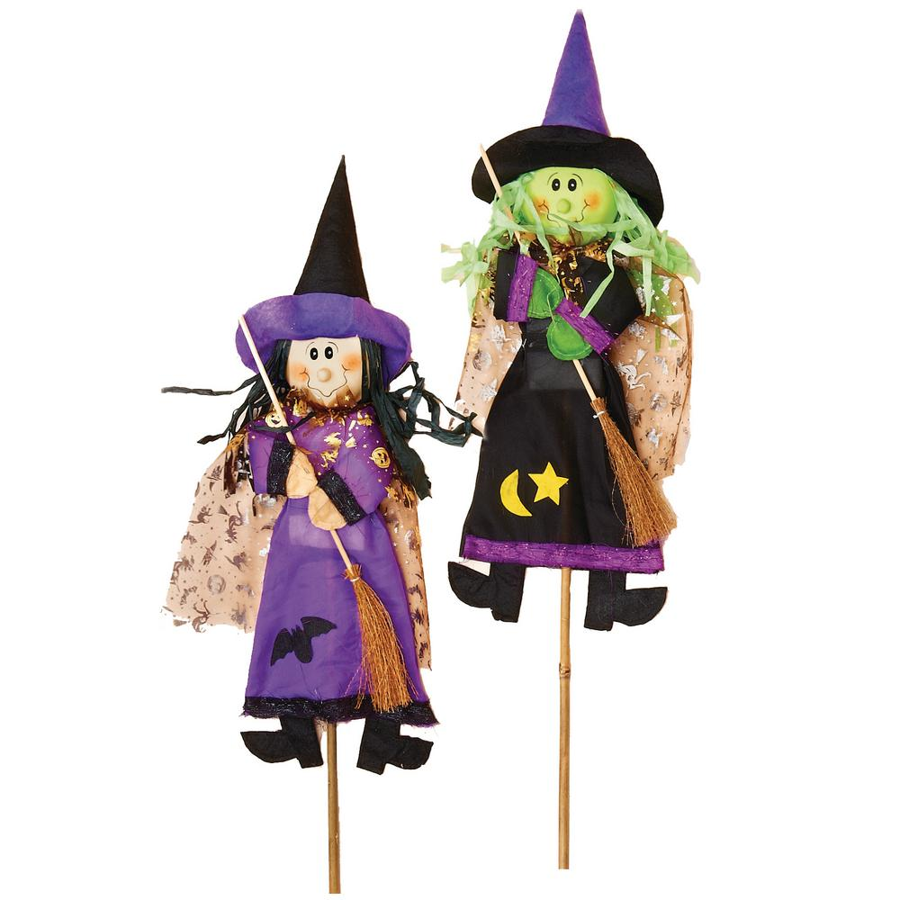 Home Depot Outdoor Decor: 3 Ft. Witch On Stick (Set Of 2)-2145