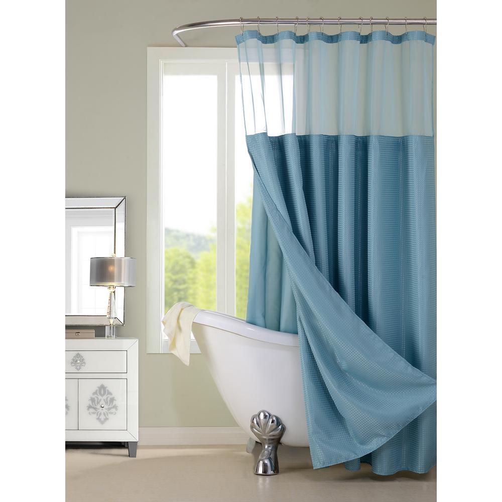 Complete 72 in. Aqua Shower Curtain