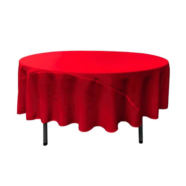 LA Linen 90 in. Red Polyester Poplin Round Tablecloth