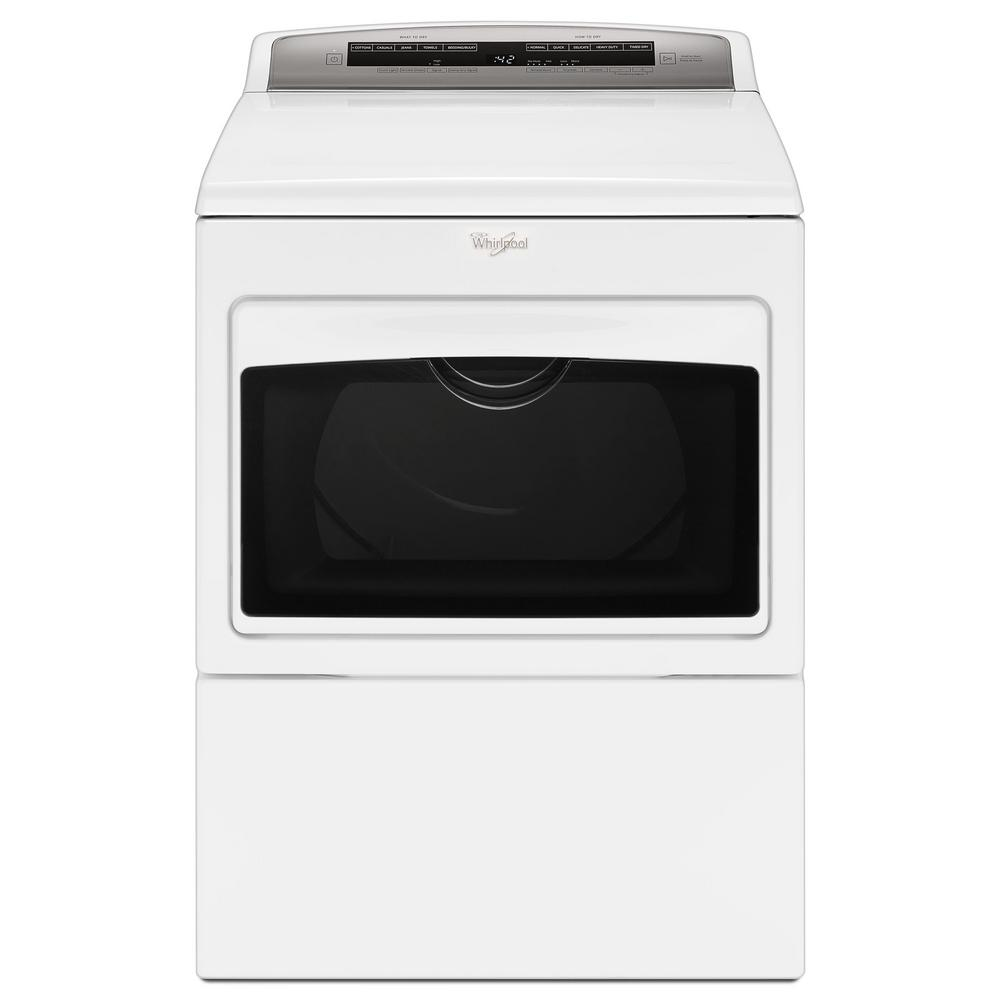 Whirlpool 7.4 cu. ft. 240 Volt White Electric Vented Dryer with AccuDry and Intuitive Touch Controls