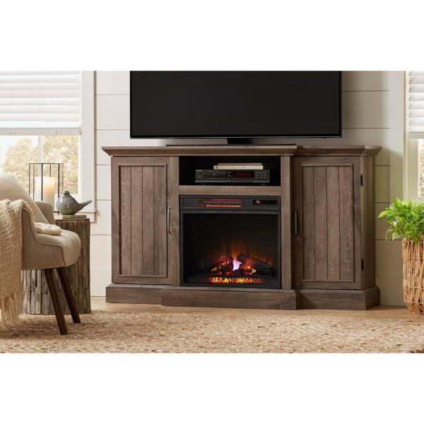 Mattingly 60 in. Freestanding Media Console Electric Fireplace TV Stand in Embossed Oak