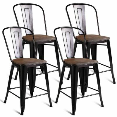 Brown Copper Metal Wood Counter Stool Kitchen Dining Bar Chairs Rustic New ( Set of 4 )