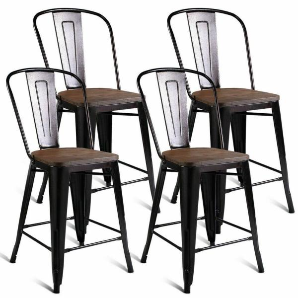 Costway Brown Copper Metal Wood Counter Stool Kitchen