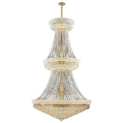 Empire Collection 38-Light Polished Gold and Crystal Chandelier