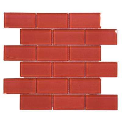 Lipstick 12 in. x 12 in. x 8 mm Glass Mosaic Wall Tile