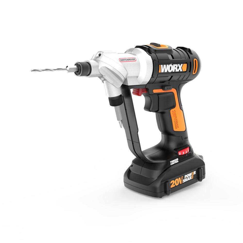 Worx 20 Volt Switchdriver Cordless 1 4 In Drill And Driver With 67