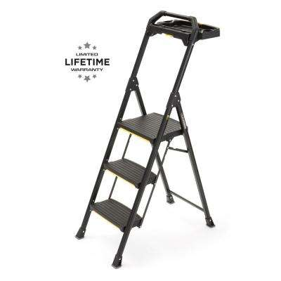 3-Step Pro-Grade Steel Project Ladder with 300 lbs. Load Capacity Type IA Duty Rating