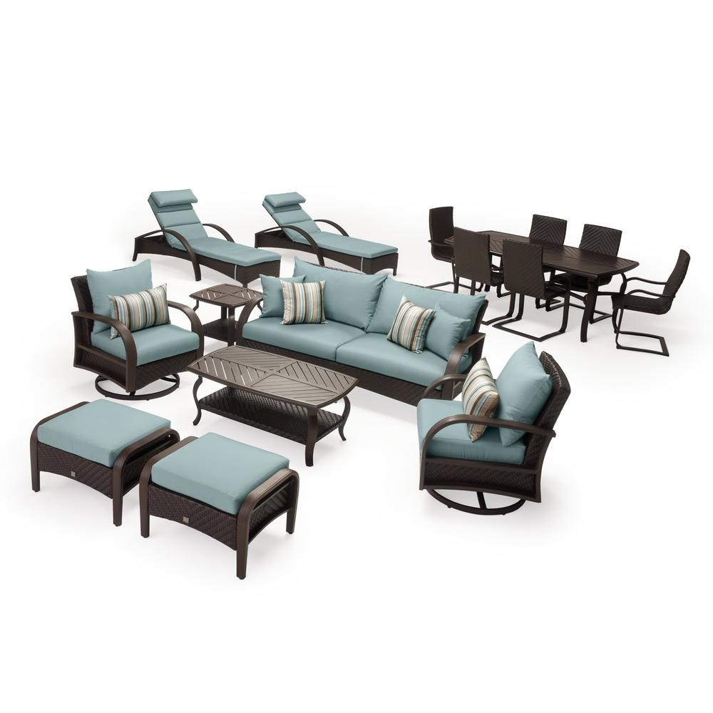 RST Brands Barcelo Estate 16-Piece Wicker Patio Conversation Set with Bliss Blue Cushions