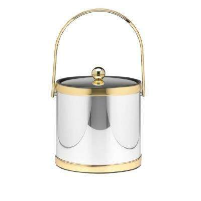Mylar 3 Qt. Polished Chrome and Brass Ice Bucket with Track Handle and Metal Lid