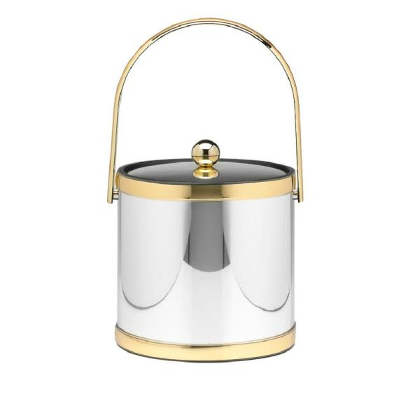 Kraftware Mylar 3 Qt. Polished Chrome and Brass Ice Bucket with