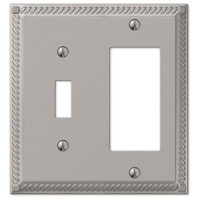 Georgian 2 Gang 1-Toggle and 1-Rocker Metal Wall Plate - Satin Nickel
