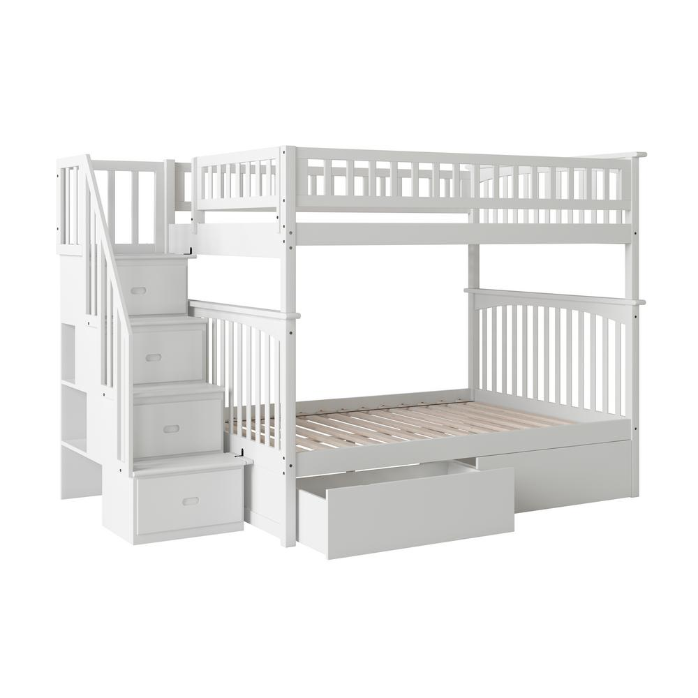 Columbia Staircase White Full Over Full Bunk Bed with 2-Urban Bed