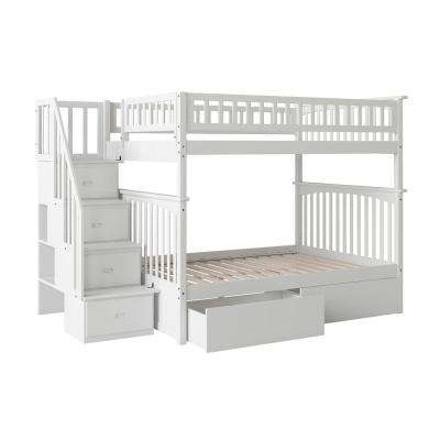 Columbia Staircase White Full Over Full Bunk Bed with 2-Urban Bed Drawers