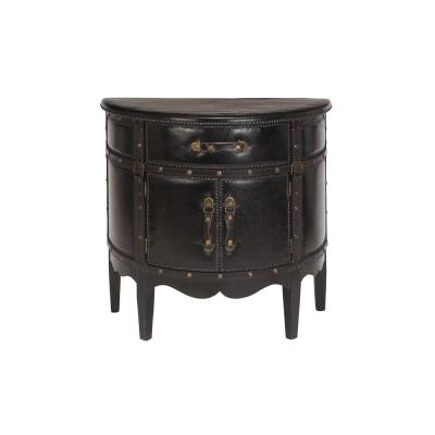 Dark Espresso Faux Leather Old World Wooden Cabinet
