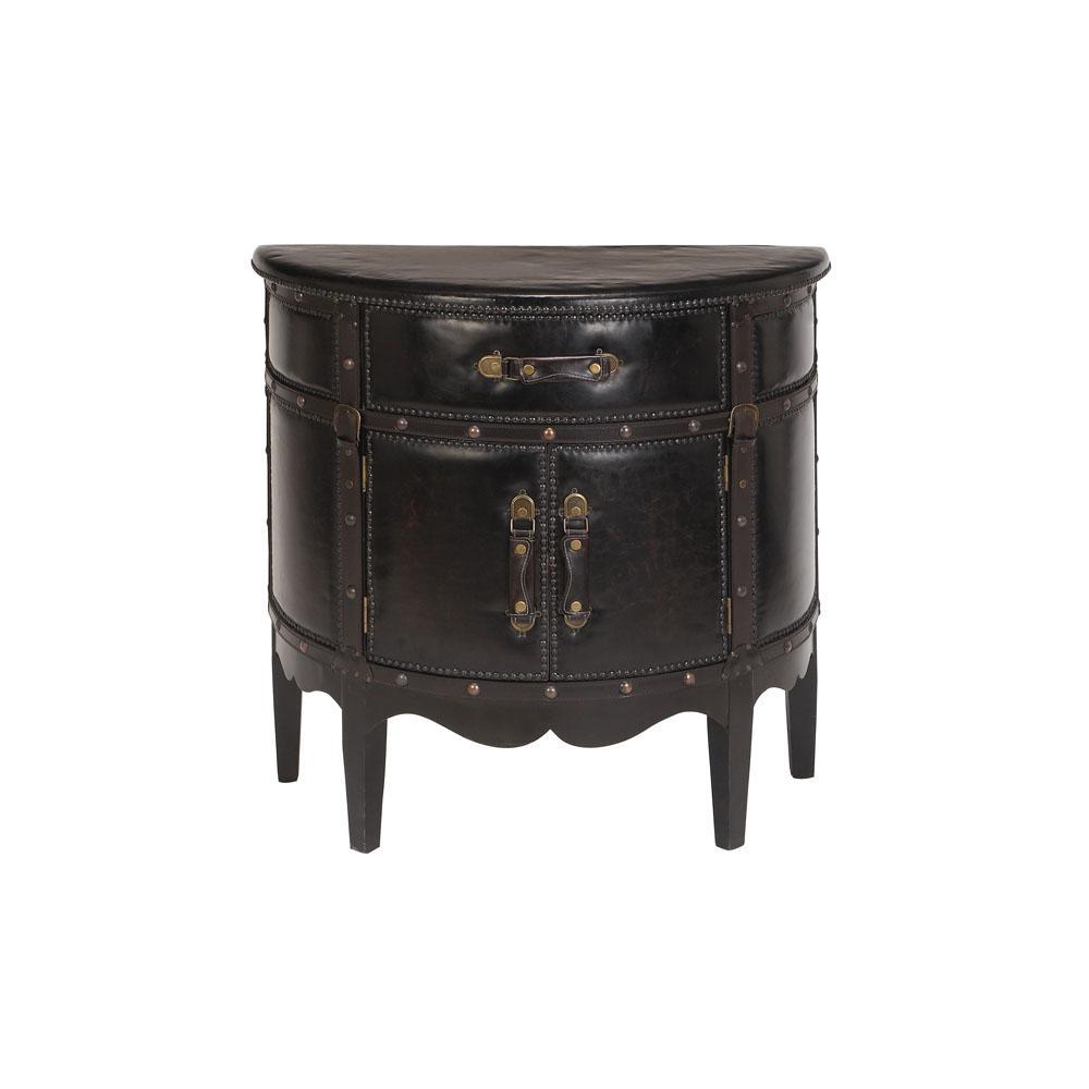 Dark Espresso Faux Leather Old World Wooden Cabinet