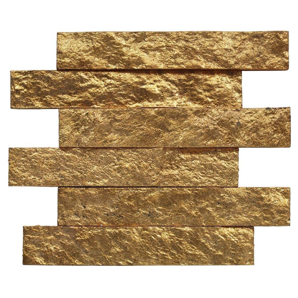 Splashback Tile Bedeck Classic Gold Stone Tile - 2 in. x 3 in ...