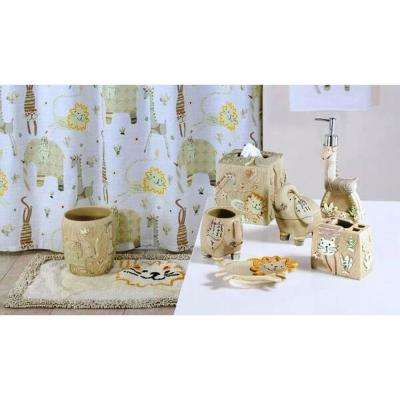 Animal Crackers 7-Piece Resin Bath Accessory Set in Multi-Color