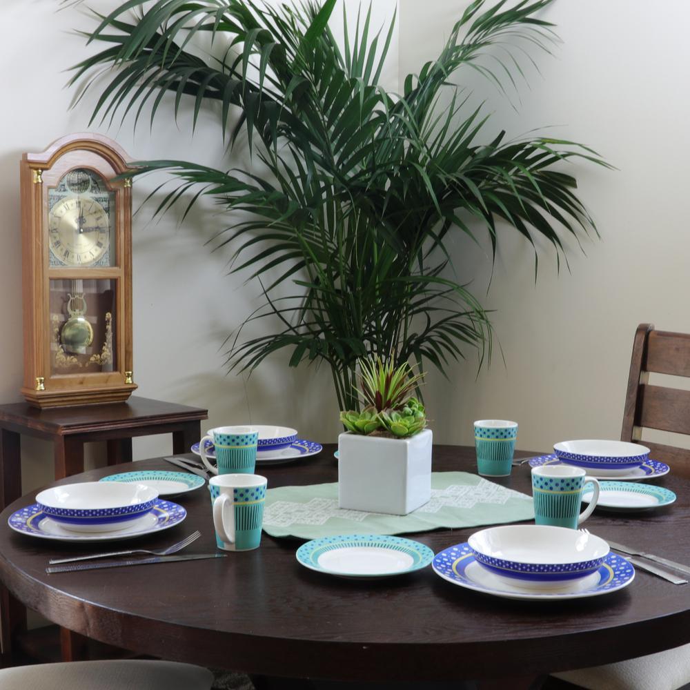 Lockhart 16-Piece Patterned Multicolor Earthenware Dinnerware Set (Service for 4)