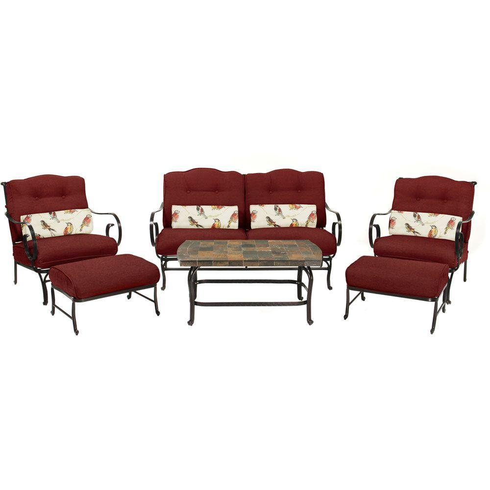 Hanover Oceana 6 Piece Patio Seating Set With A Stone Top Coffee Table And