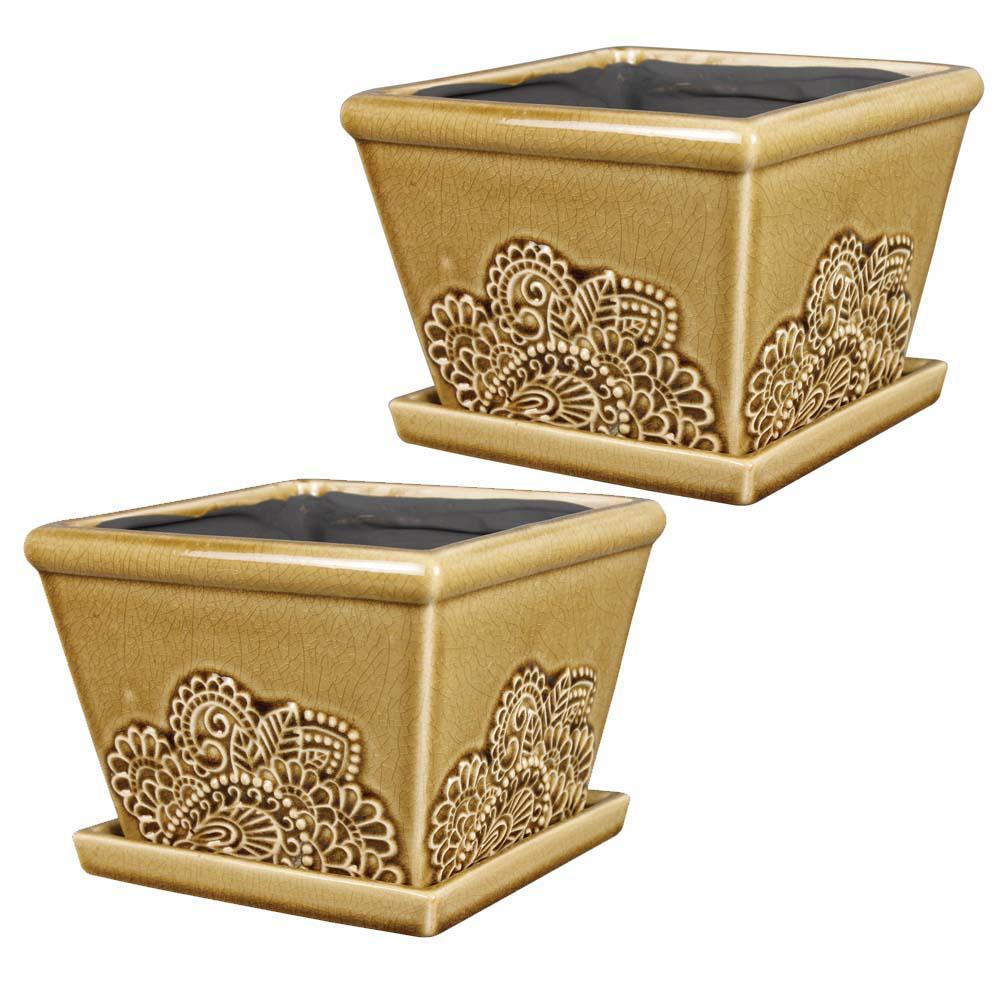 Provence 8 in. Dia Cork Ceramic Pot (2-Pack)
