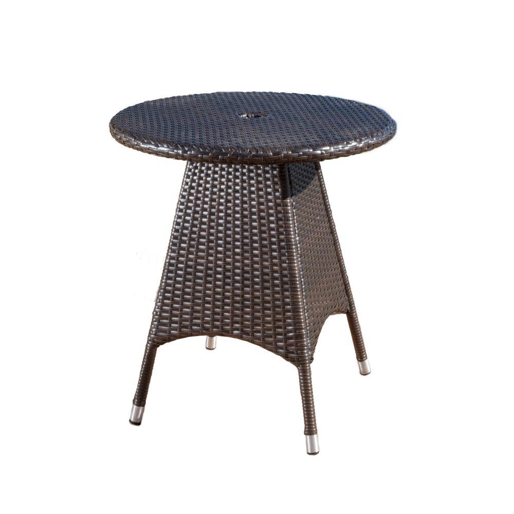 Octavia Multi Brown Round Wicker Outdoor Bistro Table