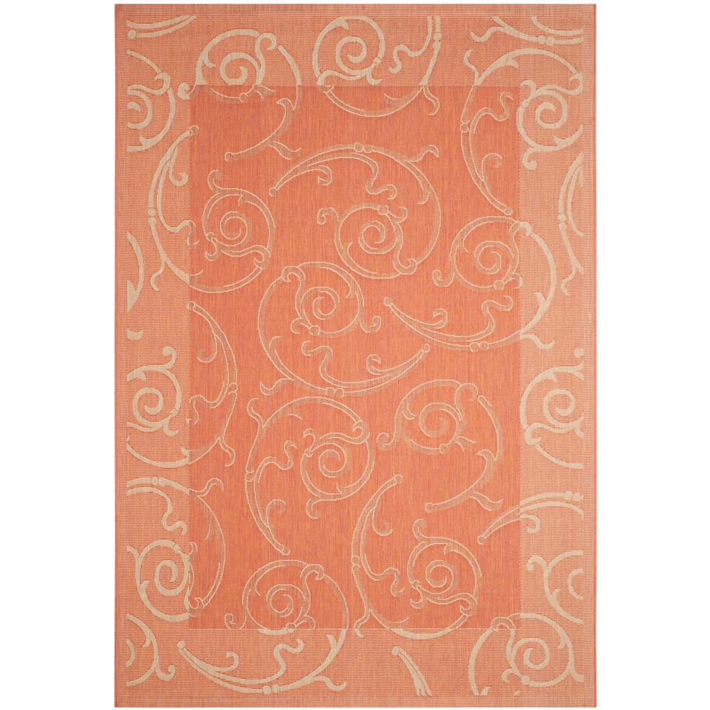 Safavieh Courtyard Terracotta/Natural 5 ft. 3 in. x 7 ft. 7 in. Indoor/Outdoor Area Rug