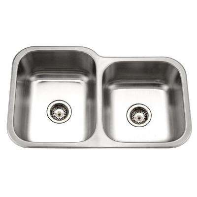 Medallion Classic Series Undermount Stainless Steel 32 in. 0-Hole Double Basin Kitchen Sink with Small Right Basin
