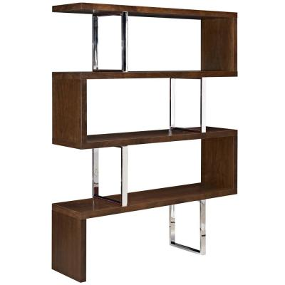 66 in. Walnut Wood 3-shelf Accent Bookcase with Open Back