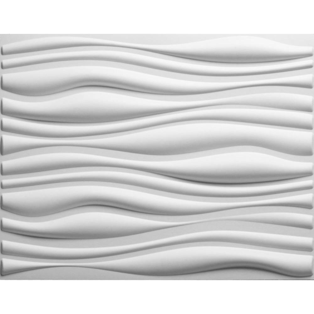 threeDwall 32.4 inch x 21.6 inch x 1 inch Off-White Plant Fiber Glue-On Wainscot Wall... by threeDwall