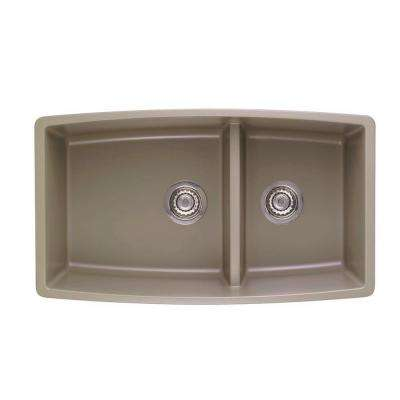 Performa Undermount Granite Composite 33 in. 0-Hole Double Bowl Kitchen Sink in Truffle