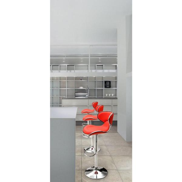 ZUO Fly Adjustable Height Red Cushioned Bar Stool