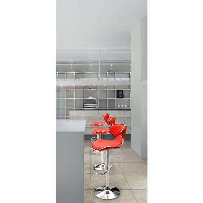 Fly Adjustable Height White Cushioned Bar Stool