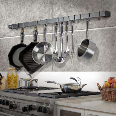 Handcrafted 42 in. Wall Rack Utensil Bar with 12-Hooks Hammered Steel