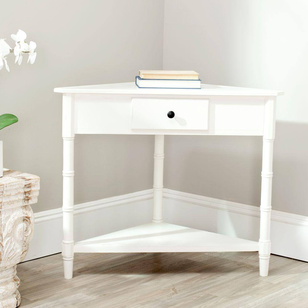 Safavieh gomez distressed cream storage console table for Cream hall table