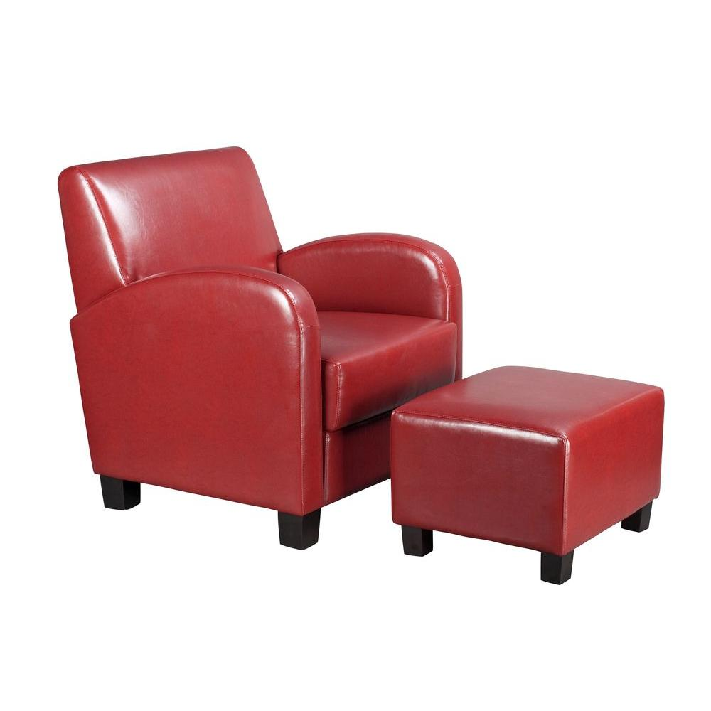 Crimson Red Vinyl Arm Chair With Ottoman