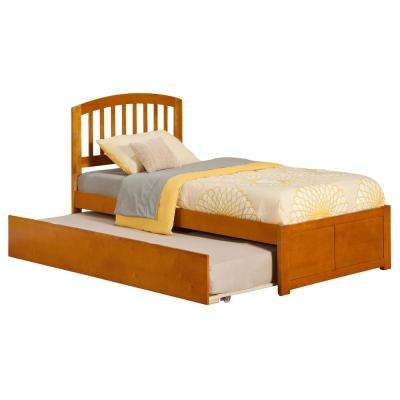 Richmond Caramel Twin Platform Bed with Flat Panel Foot Board and Twin Size Urban Trundle Bed