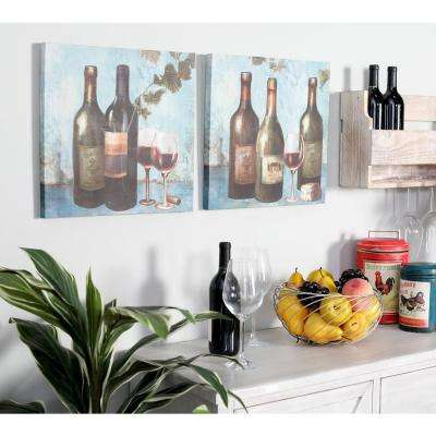 "16 in. x 16 in. ""Wine Bottles and Goblets"" Hand Painted Framed Canvas Wall Art (Set of 2)"