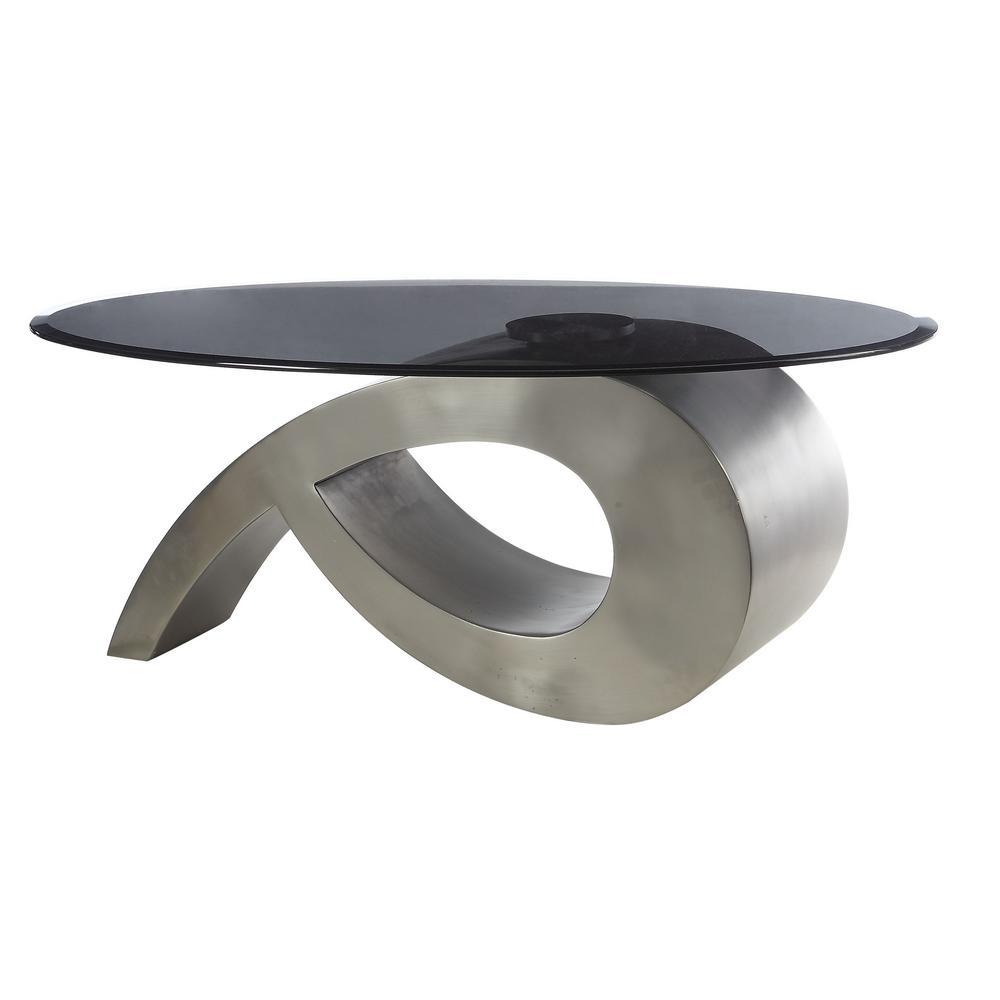 Viggo Satin Plated and Smoky Glass Coffee Table