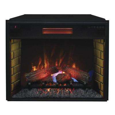 28 in. Infrared Quartz Electric Fireplace Insert with Flush-Mount Trim Kit