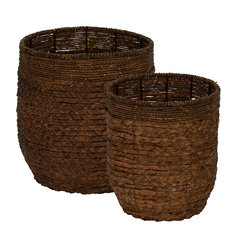 Wicker Water Hyacinth Rimmed Basket Set