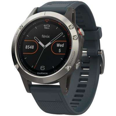 Fenix 5 47 mm Multisport GPS Watch in Silver with Granite Blue Band