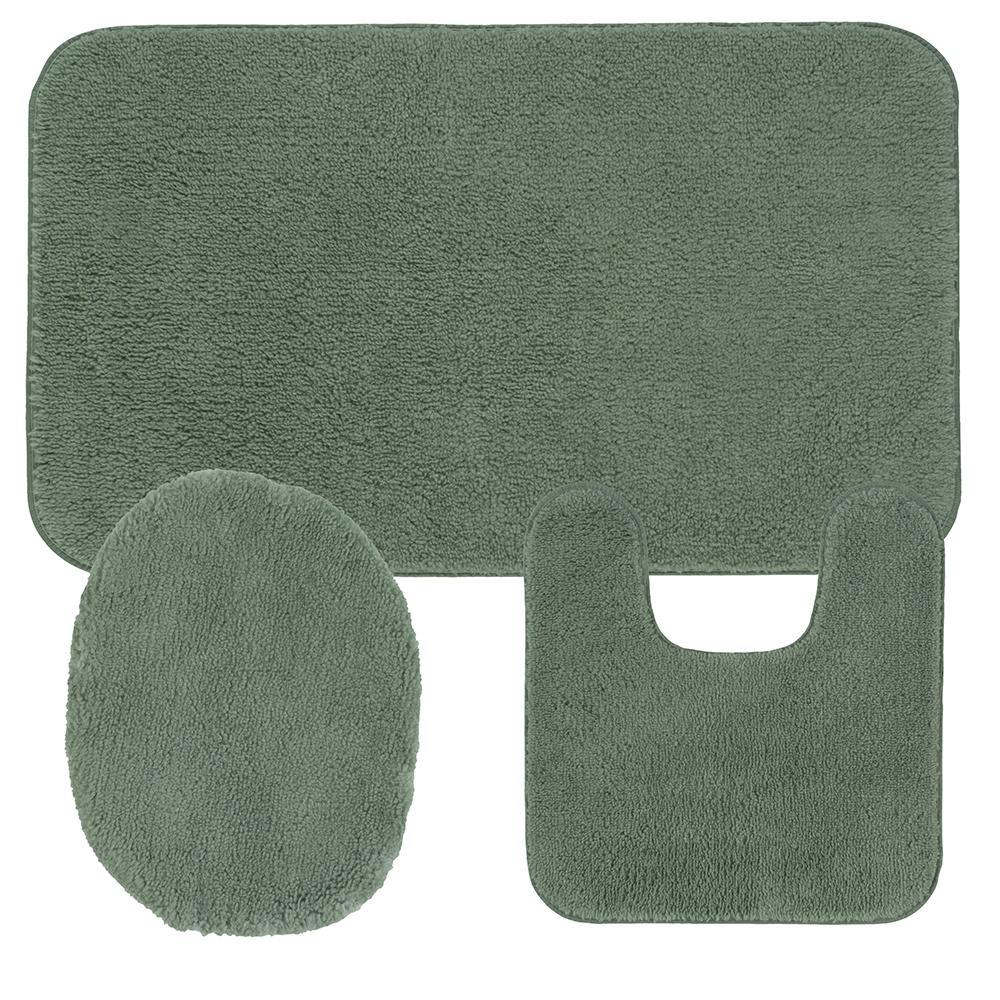 Cascade 3-pc Nylon Green Mist Bath Set (Contour 20 in. W x 20 in. L, Universal Lid Cover, Bath Mat 20 in. W x 30 in. L)