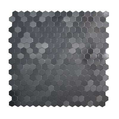 Hexagonia SB Black Stainless 11.46 in. x 11.89 in. x 5 mm Metal Self Adhesive Wall Mosaic Tile