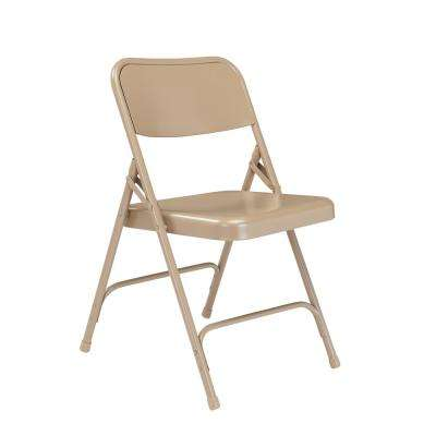 200 Series Beige Premium All-Steel Double Hinge Folding Chair (4-Pack)