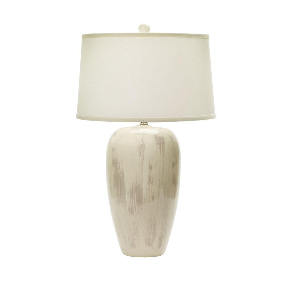 29 in. Rustic Eggshell Crackle Ceramic Table Lamp