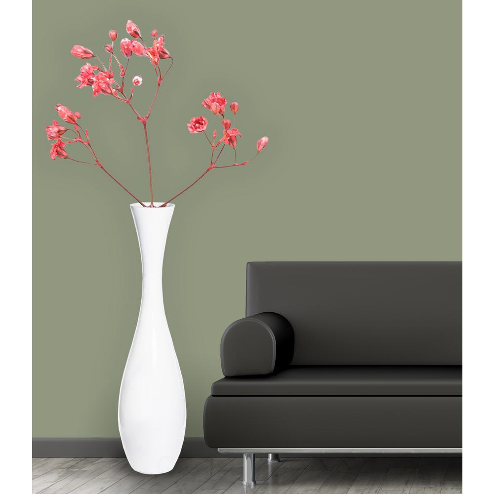 43 in. Tall White Modern Fiberglass Narrow Trumpet Floor Vase