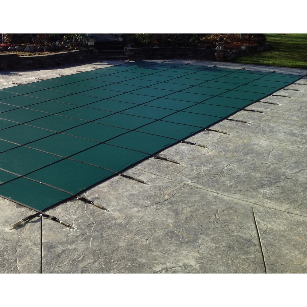 Water Warden 20 ft. x 40 ft. Rectangle Green Solid In-Ground Safety Pool Cover Left Side Step