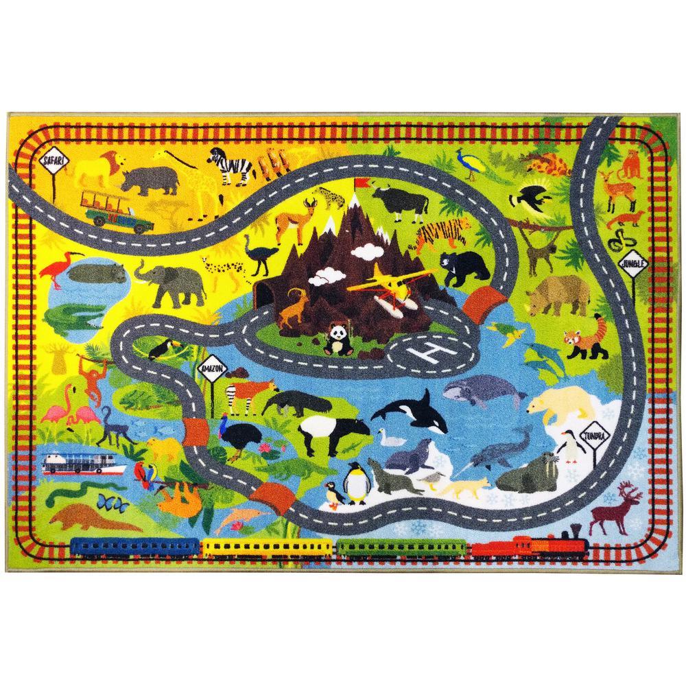 Multi-Color Kids Children Bedroom Playroom Animal Safari Road Map Educational Learning Game 3 ft. x 5 ft. Area Rug