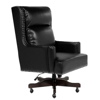 Black Leatherette Office Chair with Slit Back Cushions and Nail head Trim