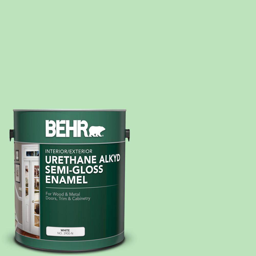 1 gal. #P390-3 Mint Parfait Urethane Alkyd Semi-Gloss Enamel Interior/Exterior Paint